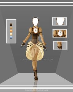 Anime Costume [Adoptable Outfit Auction by LaminaNati, on DeviantArt] Dress Drawing, Drawing Clothes, Fantasy Dress, Fantasy Girl, Fantasy Outfits, Fantasy Clothes, Anime Costumes, Cool Costumes, Dress Anime