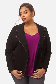 Plus Size Karla Denim Moto Jacket Moto Jacket, Leather Jacket, Fashion To Figure, Plus Size Jeans, Jacket Style, Plus Size Women, Plus Size Outfits, Blazer, Denim
