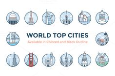 World Cities Illustrations by ProSymbols on @creativemarket