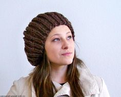 2015 Hat Patterns - Knit Slouchy Beanie Hat, Knit Beret