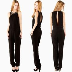 Black Sleevelss Long Jumpsuit Embellished Rhinestone Beaded Collar Open Back