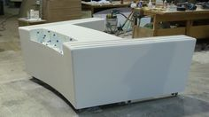 Beautifully made Corian servery in workshop awaiting delivery to Pinsent Mason, a Law Firm in London!!