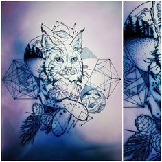 today's bobcat for Petra! #bobcat #bobcattattoo #cattoo #wip #linedrawing