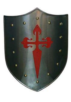 ESCUDO DE LA ORDEN MILITAR SANTIAGO 963.13 Shield Template, Anniversaire Star Wars, Knight Shield, Medieval Shields, Shield Of Faith, Crusader Knight, Helmet Armor, Armadura Medieval, Templer
