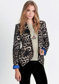 Soft leopard print blazer with royal blue satin lining