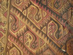 Textile Fragment; Object Number: 29959  Peru  Pachacamac  Wool, birds in dentate zigzag pattern