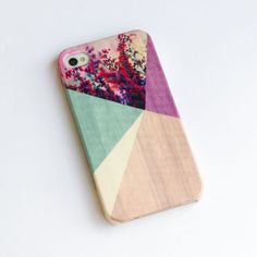 Floral Geometric on Wood iPhone Case , iPhone 5 Case , Flower iPhone 4s case , wood iphone 4 case , iphone cover
