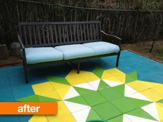 Mosaic patio using cheap concrete pavers. Could do this on our own tiny patio-just lay the pavers down on top of the existing concrete slab- and paint them however I want.