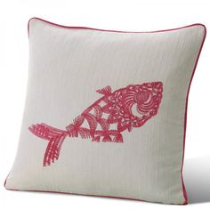 Fish embroidered throw pillow for couch Chinese style