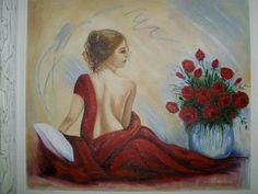 Óleo sobre tela!Dama de vermelho!! pintura por Roseli Gomes