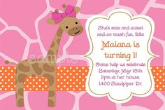 Pink and Orange Jungle Giraffe Birthday Party Invitations
