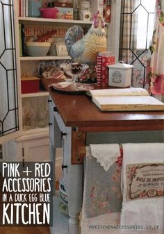 """Red and Pink Kitchen Accessories in a Duck Egg Blue Kitchen. MyKitchenAccessories' Guide, """"What Colours Go With Duck Egg Blue?"""" #DuckEggBlueKitchen #MyKitchenAccessories"""
