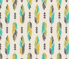Painted Feathers-Cream fabric by bohemiangypsyjane on Spoonflower - custom fabric