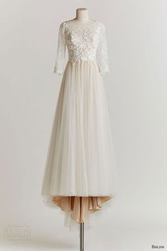 bhldn spring 2015 amelie wedding dress illusion three quarter sleeves a line skirt