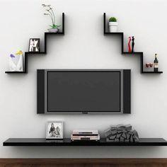 Tv Wall Design, Wall Shelves Design, Floating Wall Shelves, Wall Rack Design, Wall Shelving, Shelving Units, Wall Shelf Rack, Wall Mounted Shelves, Shelf Display