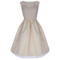 'Violetta' Delightfully Adorable 50's Inspired Cream Polka Dot Swing Dress | Lindy Bop