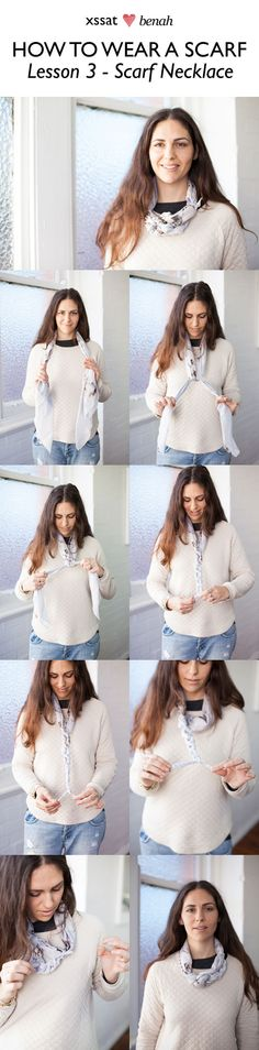How to wear a scarf. Lesson 3 - Scarf necklace! http://www.xssatstreetfashion.com/2012/07/20/how-to-wear-a-scarf-lesson-3/