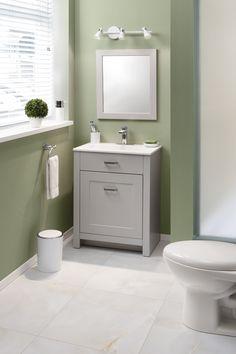 Elegante gabinete con frentes termoformados estilo transicional en color gris. incluye atractivo lavabo en color blanco. Vanity, Bathroom, Colors, House, Decorating Bathrooms, Decorations, Gray Furniture, White Cabinets, Small Grey Bathrooms