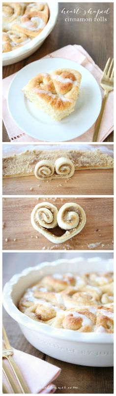 Thick bakery style heart shaped cinnamon rolls for Valentine's Day breakfast - also great for gifting!