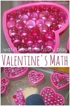 Create a Valentines sensory bin with water beads for hands on learning and play. Make early learning fun and playful with a Valentines sensory bin. Valentine Sensory, Valentine Theme, Valentines Day Activities, Valentine Day Crafts, Valentine Ideas, Funny Valentine, Valentine Stuff, Math Activities For Kids, Holiday Activities
