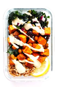 These delicious Roasted Sweet Potato, Chickpea and Kale Bowls are easy to make ahead of time and customize with your favorite veggies!