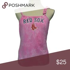 "Boston Red Sox Pink Baseball T Shirt handmade Boston Red Sox Baseball T Shirt handmade from an upcycled cotton/poly t shirt.  Shirts are all handmade and may have side or back panels of cordinating colors   SIZE CHART Small fits 32""-34"" Medium fits 34""-36"" Large fits 36""-38"" XL fits 38""-40"" XXL fits 40""-42"" Tops Tank Tops"