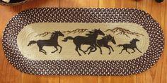 Running Horses Western Braided Rug Accent Rug Western Home Decor x Western Christmas Decorations, Western Theme Decorations, Western Decor, Cowgirl Bedroom, Horse Braiding, Horse Rugs, Braided Area Rugs, Area Rug Sets, Running Horses