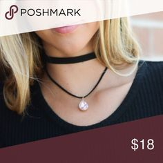 $10 Layer choker Crystal velvet black necklace New soft velvet necklace with crystal on 2nd layer Clasp in back wear in la Jewelry Necklaces