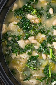 Slow Cooker Quinoa, Chicken and Kale Soup - it's healthy, delicious and loaded with protein!