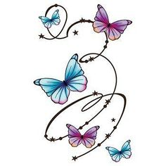 Colorful Butterfly Swirl Temporary Tattoo