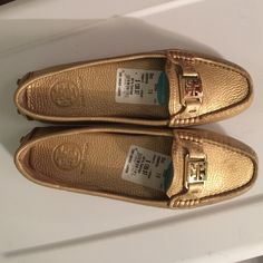 Gold Tory Burch Drivers  Authentic Gold Tory Burch Drivers, new, never worn from Nordstrom Rack small mark on right shoe. Love these but too small for me. Tory Burch Shoes