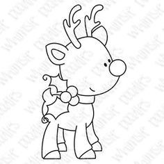 reindeer christmas holiday rudolf - Whimsie Doodles - $3.00