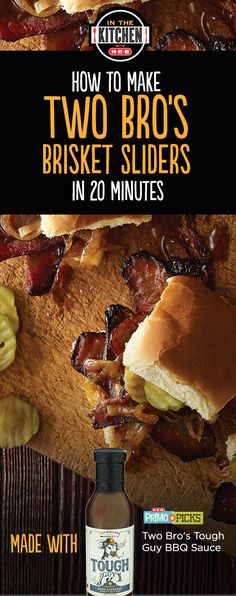 Delicious dinner in 20 minutes! Two Bros Tough Guy Dark Espresso BBQ Sauce makes these brisket sliders the delicious dinner you can't put down.