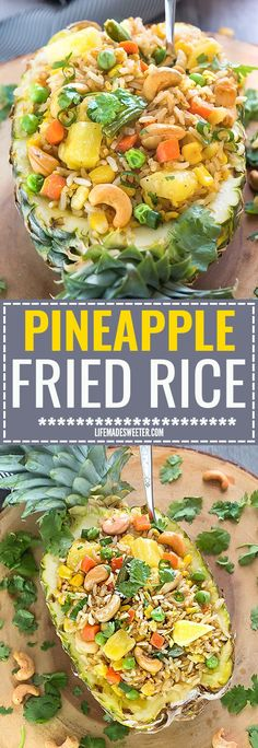 This Pineapple Fried Rice recipe is the perfect easy weeknight side dish to your meal. Best of all, it's easy to customize with any protein like chicken or shrimp and you can add your favorite Thai flavors. Greta way to clean out your fridge with all tho Best Side Dishes, Side Dish Recipes, Rice Recipes, Lunch Recipes, Asian Recipes, Whole Food Recipes, Vegetarian Recipes, Dinner Recipes, Cooking Recipes