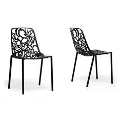 @Overstock - This Demeter Designer Dining Chair is just the update your home needed. The black aluminum alloy frame is stackable and features a lovely floral filigree design.http://www.overstock.com/Home-Garden/Demeter-Black-Metal-Modern-Dining-Chairs-Set-of-2/7480658/product.html?CID=214117 CAD 502.70