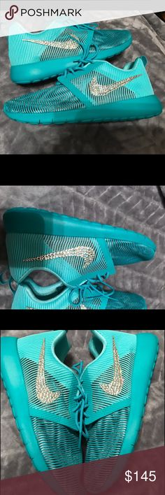 Women's Nike Roshe Bling size 7.5 Color: Hyper Turquoise  Crystals- 100% Authentic Swarovski Crystals   Condition: Nike's are Brand New in Box and 100% Authentic, purchased from an authorized Nike retailer. Customized in a smoke-free environment. Free of any odors or stains.   Crystals are set in place with top quality permanent adhesive.  Should you have any questions feel free to contact me and I will happily answer any questions you have! Nike Shoes Athletic Shoes