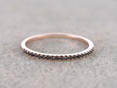 Black Diamond Wedding Ring 14K Rose Gold Anniversary Ring Half Eternity Micro pave Milgrain Matching Band