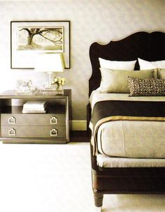bedrooms - ivory, cream, gold, gray, black, wood, lacquer, headboard, bed, gray, flannel, bedding, gray, lumbar, pillows, black, gold, silk, throw blanket, gray nightstand, chest, table, chrome, pulls, hardware, glass, lamp, art, rug, bedroom,