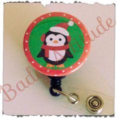 Cute Christmas Penguin Retractable Badge Reel. ID by BadgeAttitude