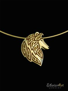 Rough Collie head profile - solid 14k yellow gold with brown and black enamel (glass) pendant and necklace.