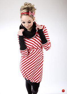 """Ballonkleider - MEKO """"Leny"""" Kleid Rot Weiß Damen langarm Muster - ein…"""