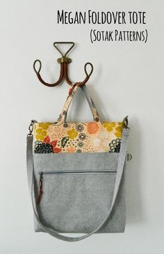 Megan Foldover Tote {PDF sewing pattern} instant download, sewing, sew, tote bag, bag, zipper pocket, sotak patterns, removable strap
