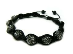 Black Shamballa 10mm Glass Beaded Macrame Bracelet with 7 Iced Out Disco Balls JOTW. $9.95. Unique adjustable pull string cobra stitched lanyard design.. Great Quality Jewelry!. 100% Satisfaction Garunteed!