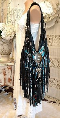 Handmade Black Leather Fringe Bag Hippie Festival Boho Western Hobo Purse tmyers