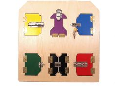 Montessori Sensorial Material / Practical Life Material A crafted wooden lock board with multitude of locks, doors and latches. This product helps to perfect hand-eye coordination skills and to learn
