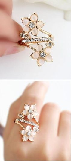 Coral Flower Blossom Ring ♥ by reva