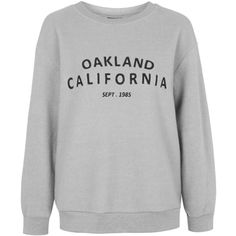 TOPSHOP Oakland Sweatshirt (49 CAD) ❤ liked on Polyvore featuring tops, hoodies, sweatshirts, sweaters, shirts, jumpers, grey marl, topshop, gray sweatshirt and embroidered sweatshirts