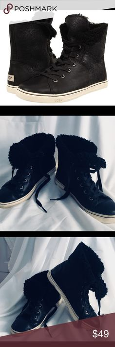 Ugg Croft | High Top Leather and Sheepskin Sneaker Adorable black leather high tops with cozy sheepskin inside. Gently worn in great condition! Can fold over top of sneaker for different look! Great with jeans, leggings-any look! UGG Shoes Sneakers