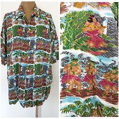 Vintage 80s Reyn Spooner Shirt Size XLarge Hawaiian Mens Hula Dancers Staters #ReynSpooner #Hawaiian