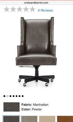 Gliding on chrome casters attached to a five-star solid oak base in charcoal grey the chair does a 360 swivel and adjusts in height. The Neo Leather ...  sc 1 st  Pinterest & Neo Upholstered Wingback Office Chair | Wingback chairs Solid oak ...